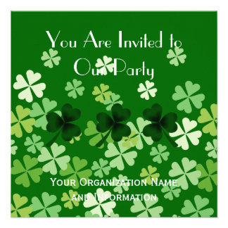 Shamrock and Four Leaf Clovers Custom Invitation
