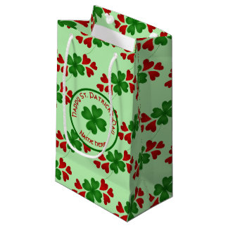 Shamrock and heart small small gift bag