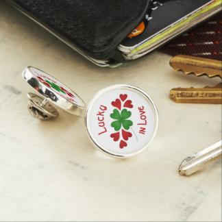 Shamrock and hearts lapel pin