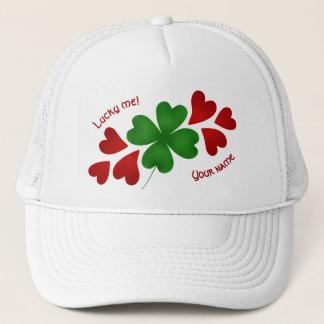 Shamrock and hearts trucker hat