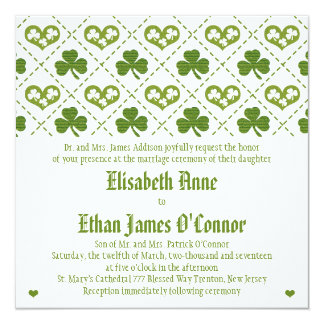 Shamrock and Hearts Wedding Invitations