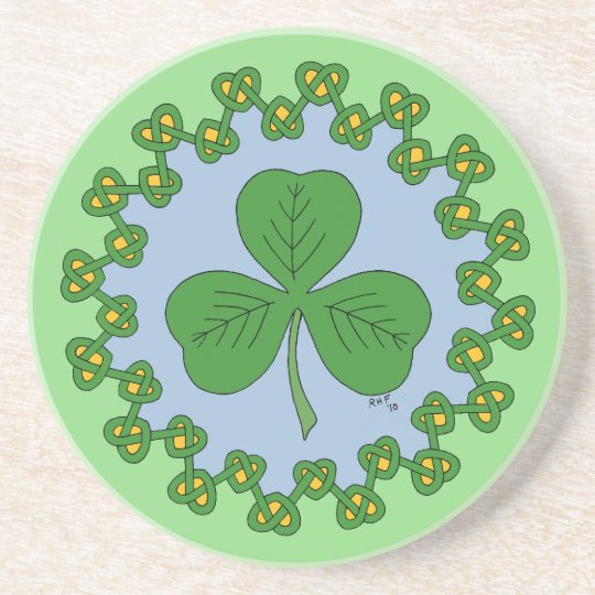 Shamrock and Knotwork Beverage Coaster