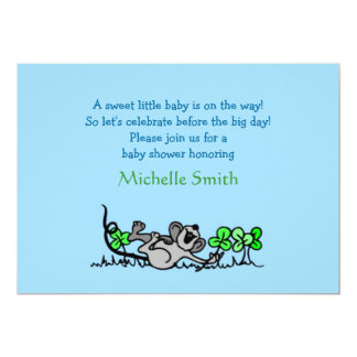 shamrock; baby shower 13 cm x 18 cm invitation card