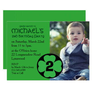 Shamrock Birthday Party Invitation with Photo