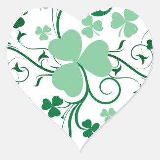 Shamrock blossom heart sticker