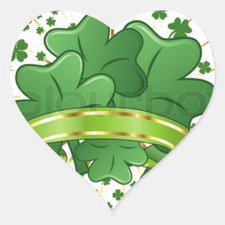 Shamrock Bouquet, Green Clovers, Irish Fun Heart Sticker