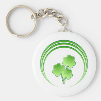 Shamrock bouquet in circles basic round button key ring