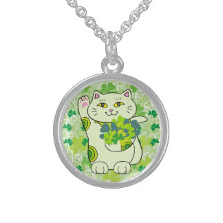 Shamrock Bouquet Maneki Neko (Lucky Cat) Round Pendant Necklace