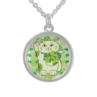 Shamrock Bouquet Maneki Neko (Lucky Cat) Round Pendant Necklace