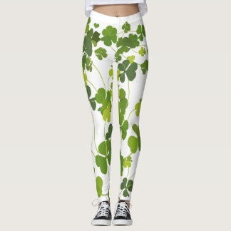Shamrock bouquet, st patrick's day, green clover leggings