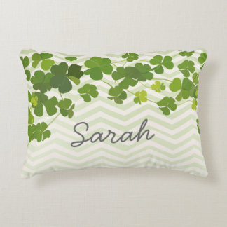 Shamrock bouquet, st patrick's day personalize decorative cushion