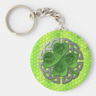 Shamrock – Celtic Knot – 4 Evangelists Basic Round Button Key Ring