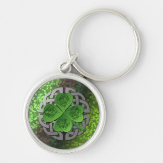 Shamrock – Celtic Knot – 4 Evangelists Silver-Colored Round Key Ring
