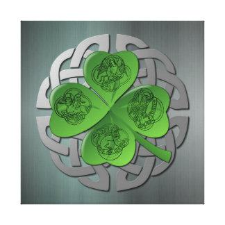 Shamrock - Celtic Knot - 4 Evangelists Stretched Canvas Print