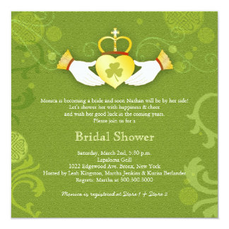 Shamrock Claddagh Heart Irish Bridal Shower 13 Cm X 13 Cm Square Invitation Card