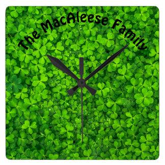 Shamrock Clovers Green Irish Symbol Ireland Wallclock