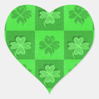 Shamrock Clovers Heart Sticker