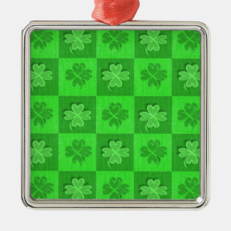 Shamrock Clovers Silver-Colored Square Decoration