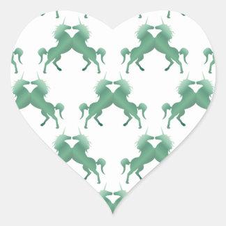 Shamrock Dark Green Unicorns Heart Stickers