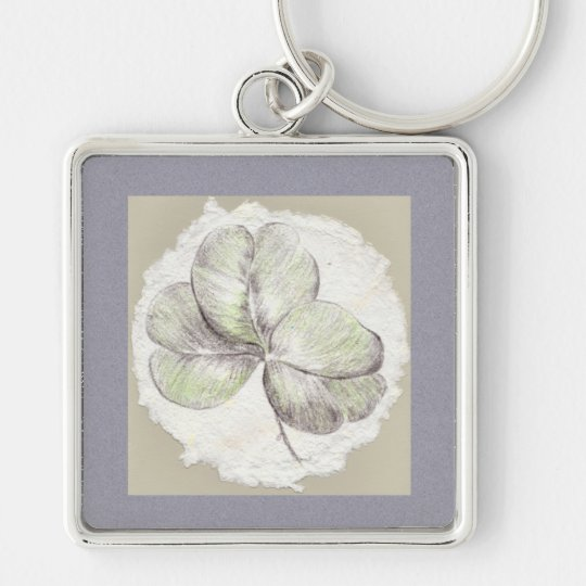 Shamrock Drawing on Handmade Paper Image Silver-Colored Square Key Ring