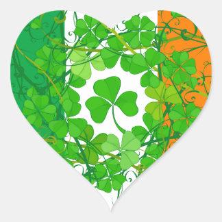 Shamrock Flag Heart Sticker