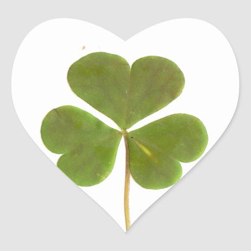 Shamrock for St Patrick's Day Heart Stickers