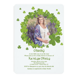 Shamrock Frame Photo Invitation
