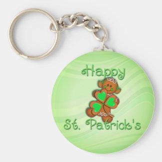 SHAMROCK GIRL HAPPY ST. PATRICKS by SHARON SHARPE Basic Round Button Key Ring