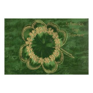 Shamrock Gold Four Leaf Clover Art Photo
