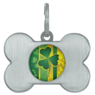 Shamrock Green and Gold Design Pet Tag