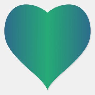 Shamrock Green and Ultramarine Gradient Heart Stickers
