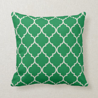 Shamrock Green and White Quatrefoil Pattern Cushion
