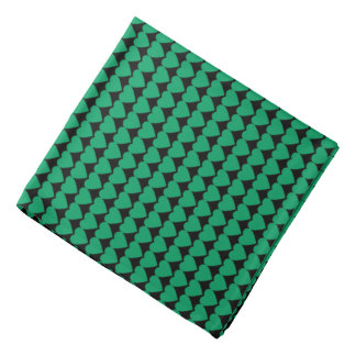 Shamrock Green Hearts on Black Bandanna