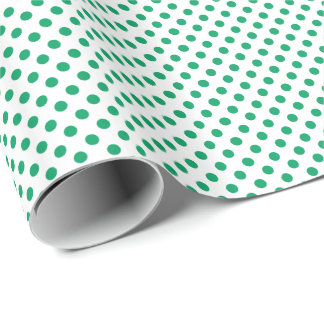 Shamrock Green on White Polka Dot Wrapping Paper