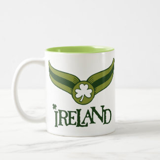 Shamrock Green Snitch with Ireland Name Two-Tone Mug