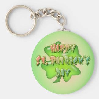 SHAMROCK HAPPY ST. PATRICKS DAY by SHARON SHARPE Basic Round Button Key Ring