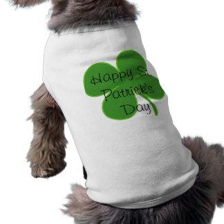 Shamrock, Happy St. Patrick's Day Sleeveless Dog Shirt