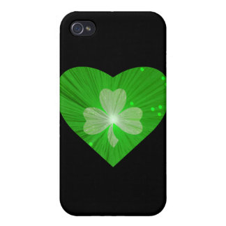 Shamrock Heart black Cover For iPhone 4
