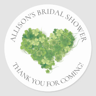 Shamrock Heart Bridal Thank You Shower Sticker