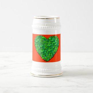 Shamrock Heart in Irish Green Beer Steins