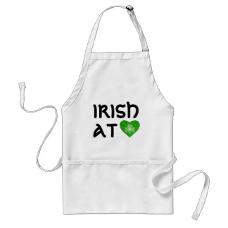Shamrock Heart 'Irish at Heart' apron black text