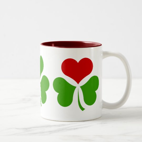 Shamrock Heart Two-Tone Coffee Mug