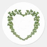 Shamrock Heart Vintage St. Patrick's Day Round Sticker