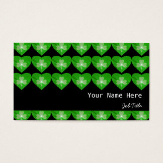 Shamrock Hearts Black stripe Business Card