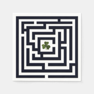 Shamrock in Black Labyrinth Challenge Disposable Napkins