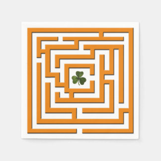 Shamrock in Orange Labyrinth Challenge Disposable Napkins
