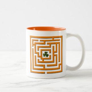 Shamrock in Orange Labyrinth Challenge Two-Tone Coffee Mug