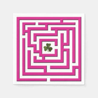 Shamrock in Pink Labyrinth Challenge Paper Serviettes