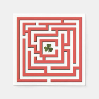 Shamrock in Red Labyrinth Challenge Disposable Serviette