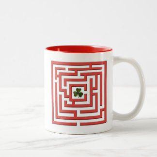 Shamrock in Red Labyrinth Challenge Two-Tone Coffee Mug